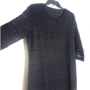 Black 3/4 Sleeve Crochet and Fringe Mini Dress